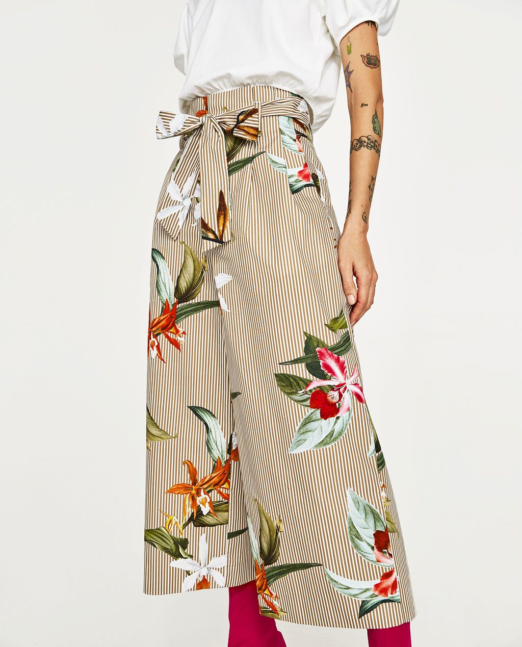 a25b600fb41a0d Image 2 of FLORAL AND STRIPED POPLIN CULOTTES from Zara | WEAR ...