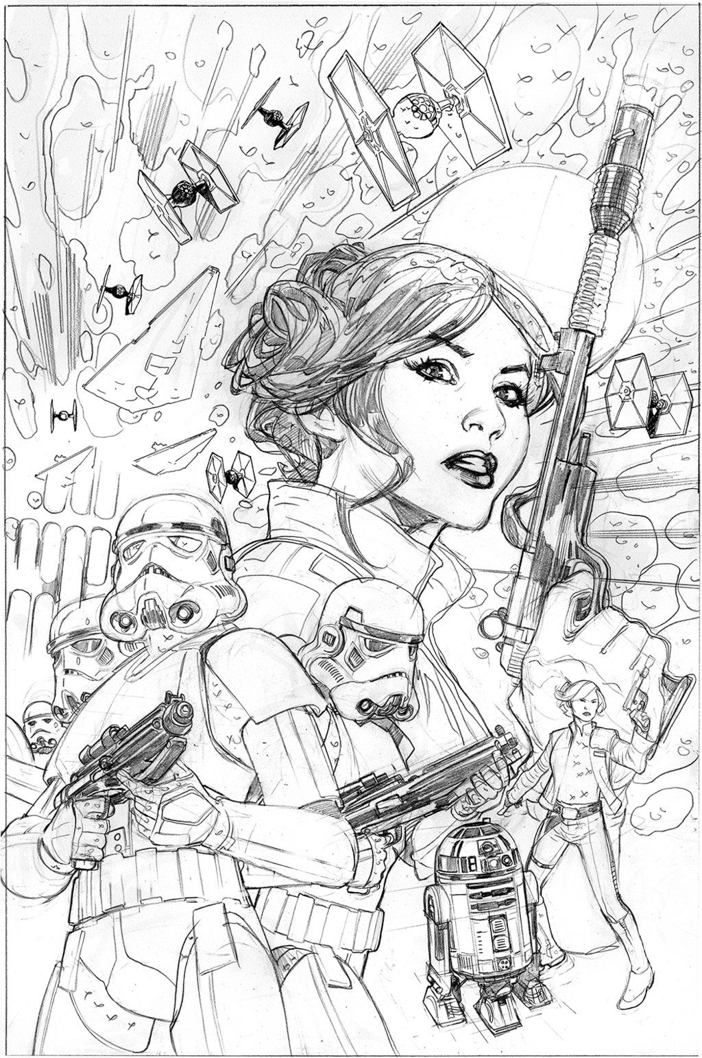 Star Wars Princess Leia 4 Cover Pencils By Terrydodson