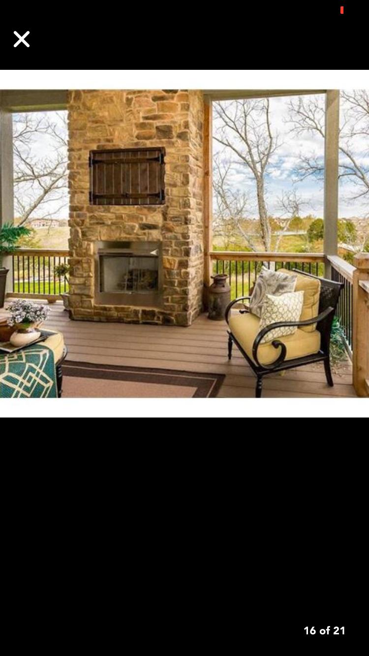 enclosed tv nook in rock outdoor covered patio backyard