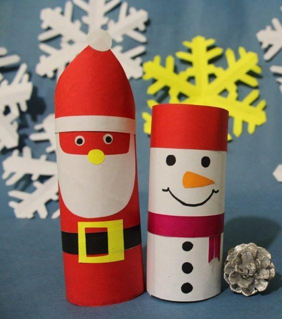 basteln klorollen weihnachten weihnachtsmann schneemann. Black Bedroom Furniture Sets. Home Design Ideas