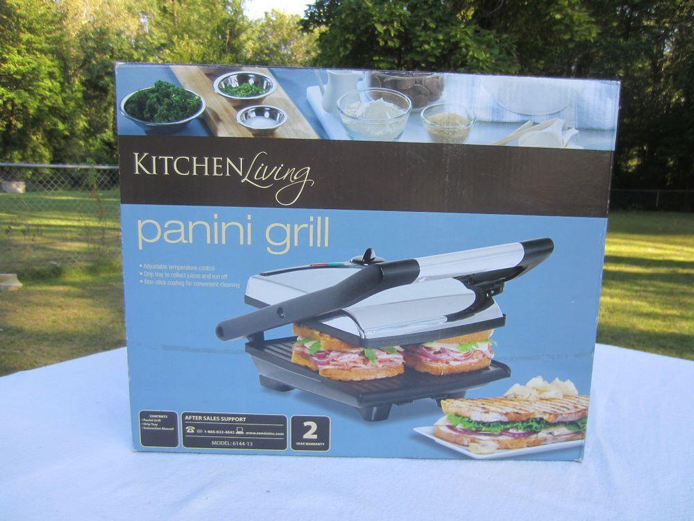 Panini Grill Press Gourmet Sandwich Maker Heat Control Floating Grid Plates Nib Kitchenliving Panini Maker Gourmet Sandwiches Grilling