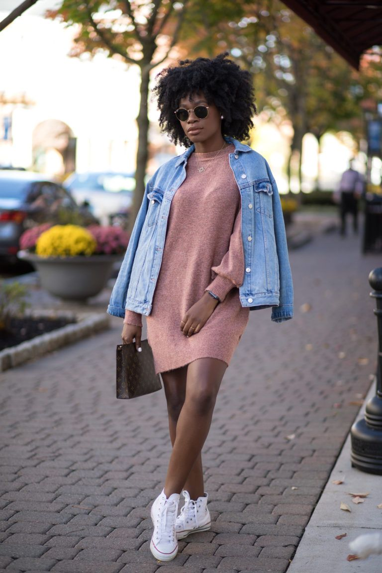 Pink Sweater Dress With Jean Jacket And White Converse Yourstrulyyinka Fashion Everyday Outfits Black Girl Outfits