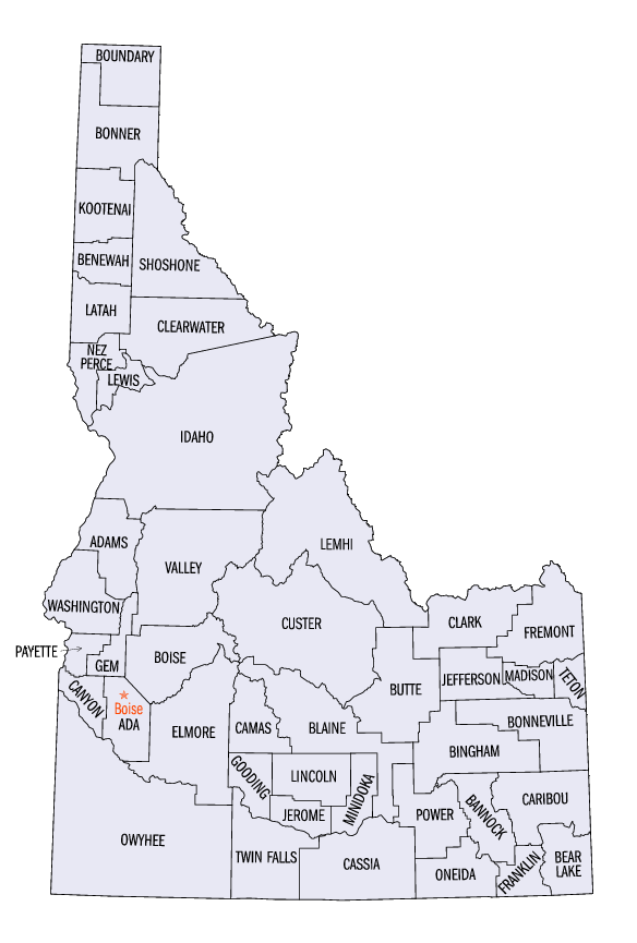 map of counties in idaho Idaho Counties Map Idaho Statistical Areas Wikipedia The Free Encyclopedia Idaho County Idaho Adventure Idaho Travel map of counties in idaho