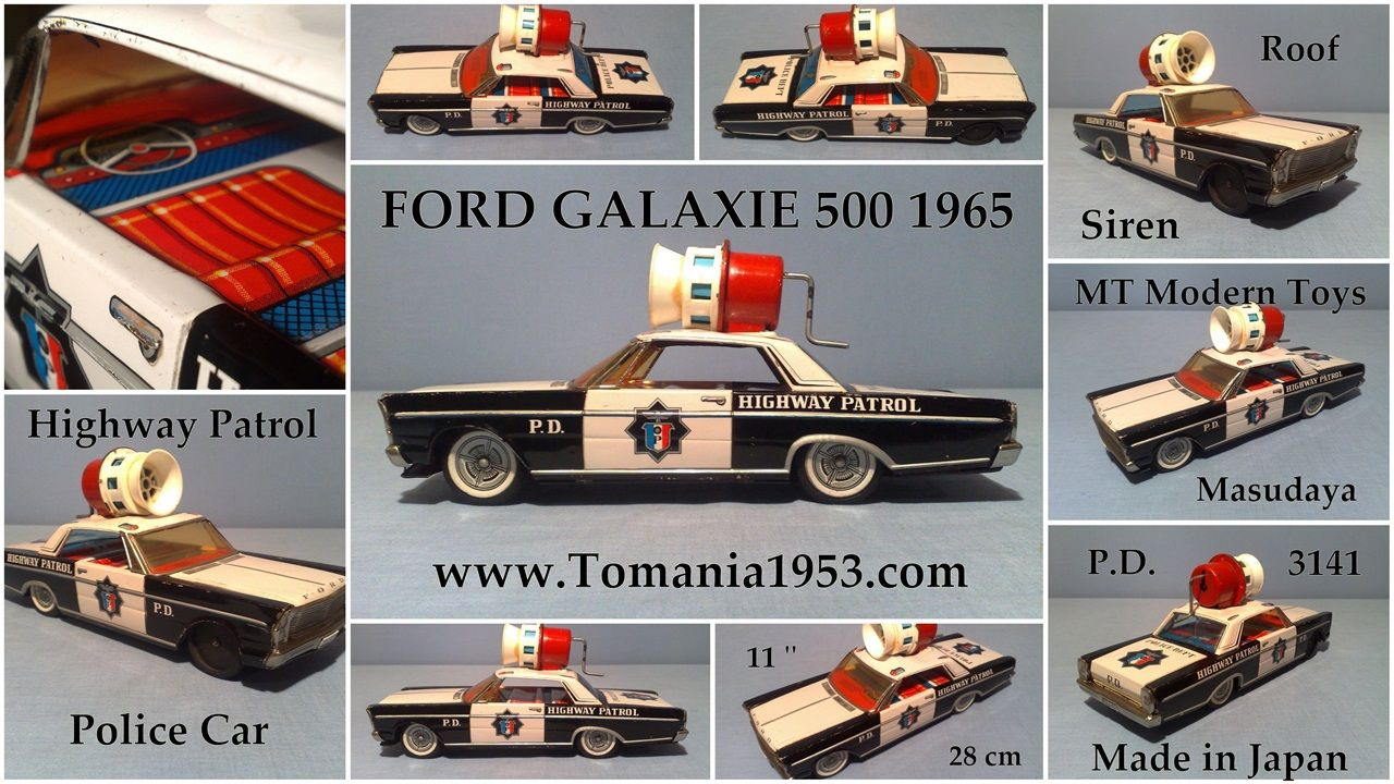 FORD Galaxie 500 1965 Model Police Model Tin Toy Friction Car Modern Toys Japan