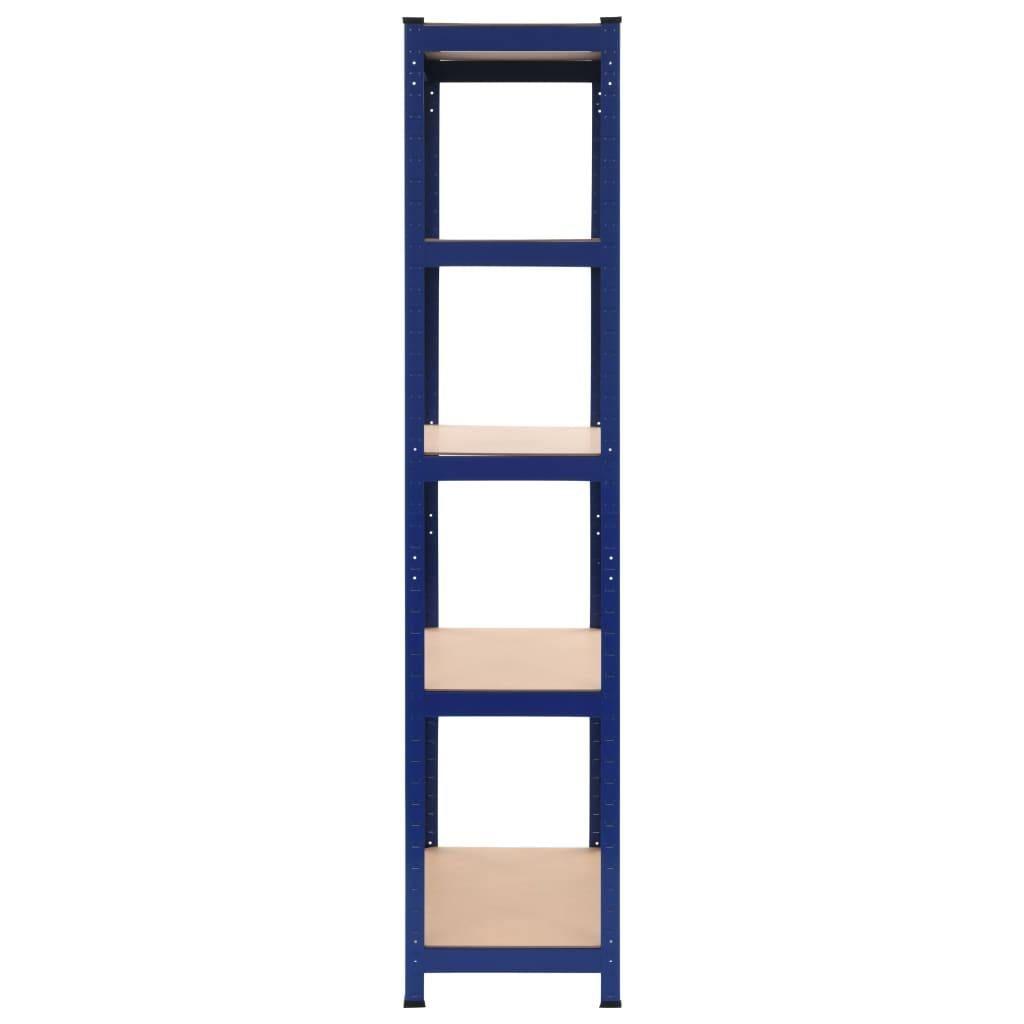 Storage Shelves 2 Piece Blue 80x40x180 cm Steel and MDF