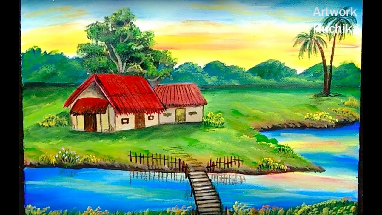 Village Scenery Painting Easy Landscape Painting Acrylic Painting Tutorial Youtube Scenery Paintings Landscape Paintings Acrylic Landscape Paintings