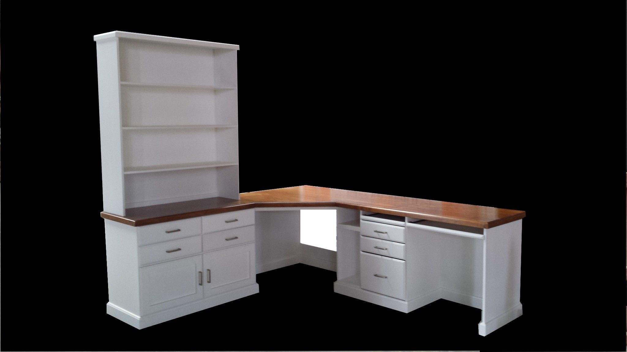 Home Design Ideas Pictures: Large Custom White Wood Corner Desk With Tall Hutch And