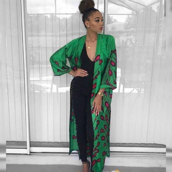 Latest Stylish Ankara Kimono #ankarastil