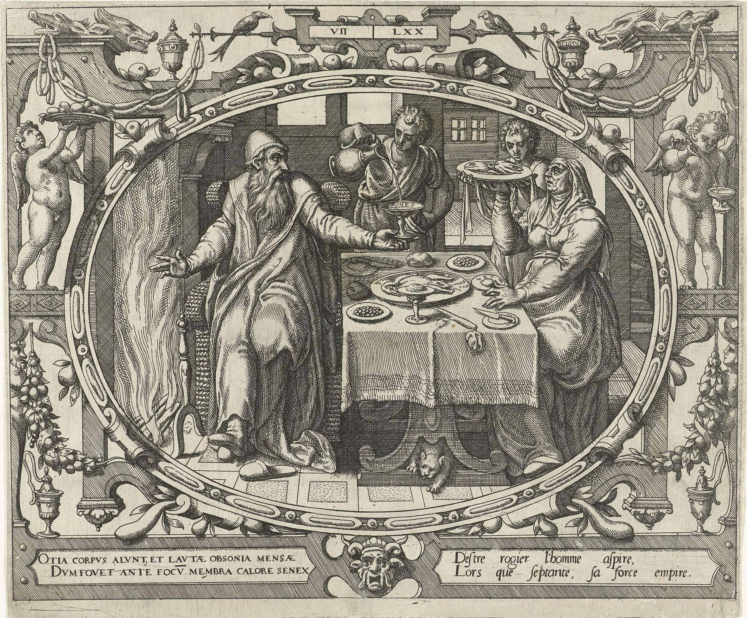 Gerard P. Groenning | De mens op zeventigjarige leeftijd, Gerard P. Groenning, 1569 - 1575 | In een ovaal kader versierd met ornamenten een voorstelling van een oude man samen met zijn vrouw aan tafel bij het haardvuur. Bedienden schenken hen voedsel en drank. De prent heeft een Latijns en Frans onderschrift.