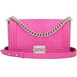 5ef95c2e62dd Pre-owned Chanel Pink Python Medium Boy Bag | Pink Princess purses ...