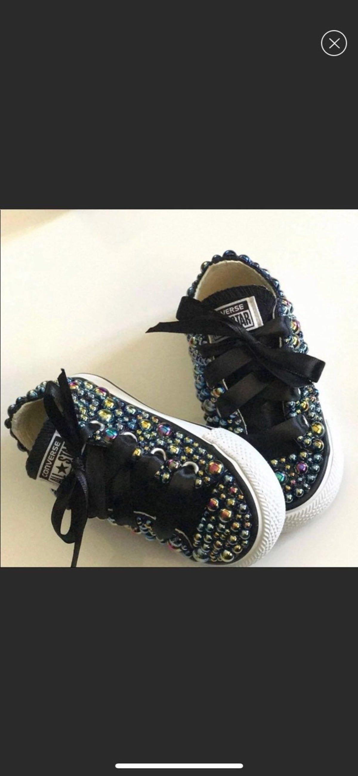Photo of Black Iridescent Custom Converse Size 5C