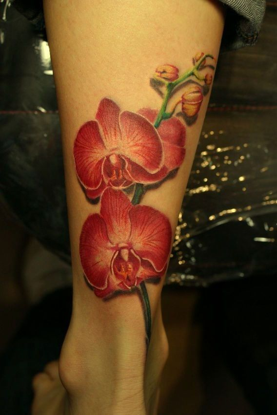8962e4bc06adc Lovely realistic red orchids tattoo on leg - Tattooimages.biz ...