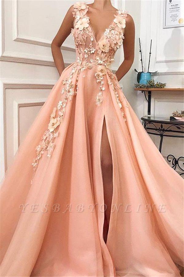 Glamorous Straps V-Neck Flower Appliques Prom Dress with a leg Slit | Chic Long Evening Dresses