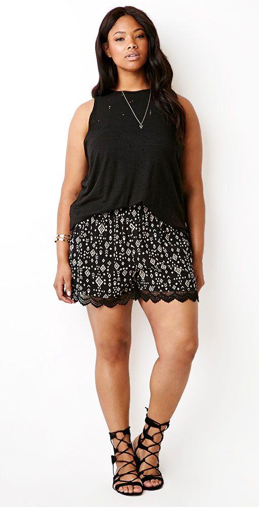 Lace trim mid length shorts.