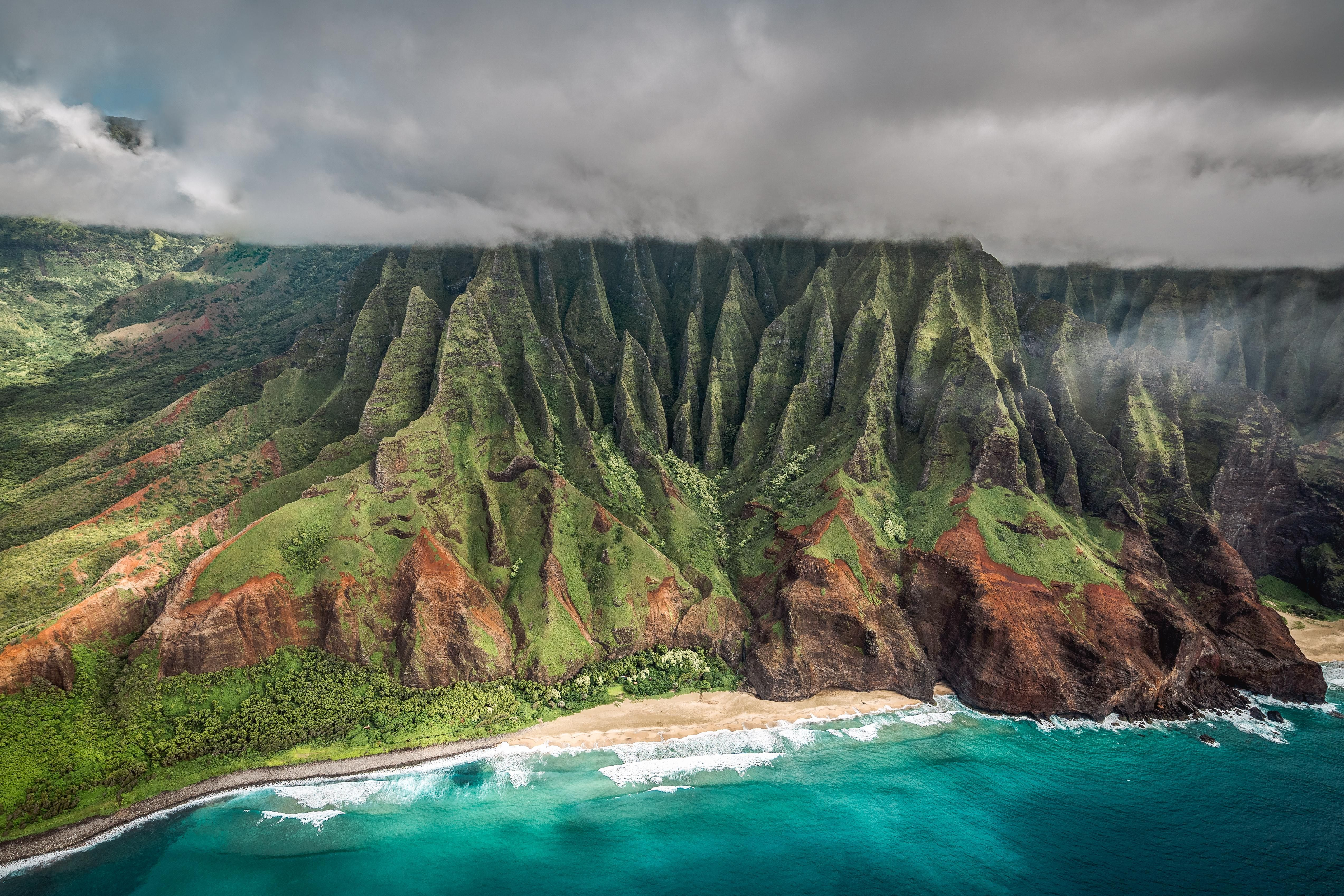 7x10 FT Hawaiian Vinyl Photography Backdrop,Aerial View of Na Pali Coast Kauai Hawaii Mountain Cliff Seacoast Scenic Photo Background for Party Home Decor Outdoorsy Theme Shoot Props