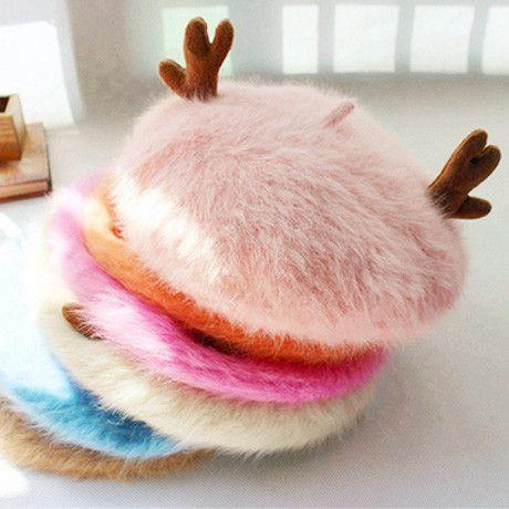 10 Colors Mori Girl Deer Horn Fleece Beret Hat SP154307