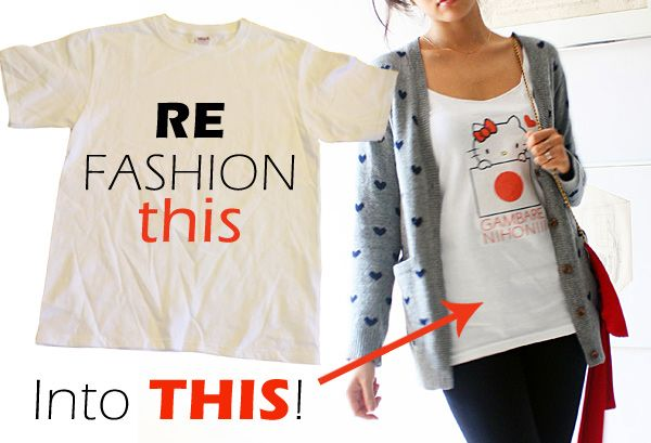 How to refashion a t-shirt you stole, er, borrowed, from your boyfriend into a cute tank top.