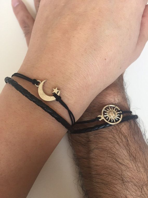 Couples Bracelets 298- friendship love cuff moon and sun bracelet leather  braid gift adjustable current