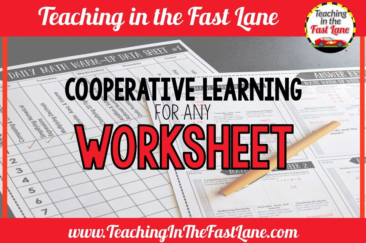 Cooperative Learning Activities For Any Worksheet With
