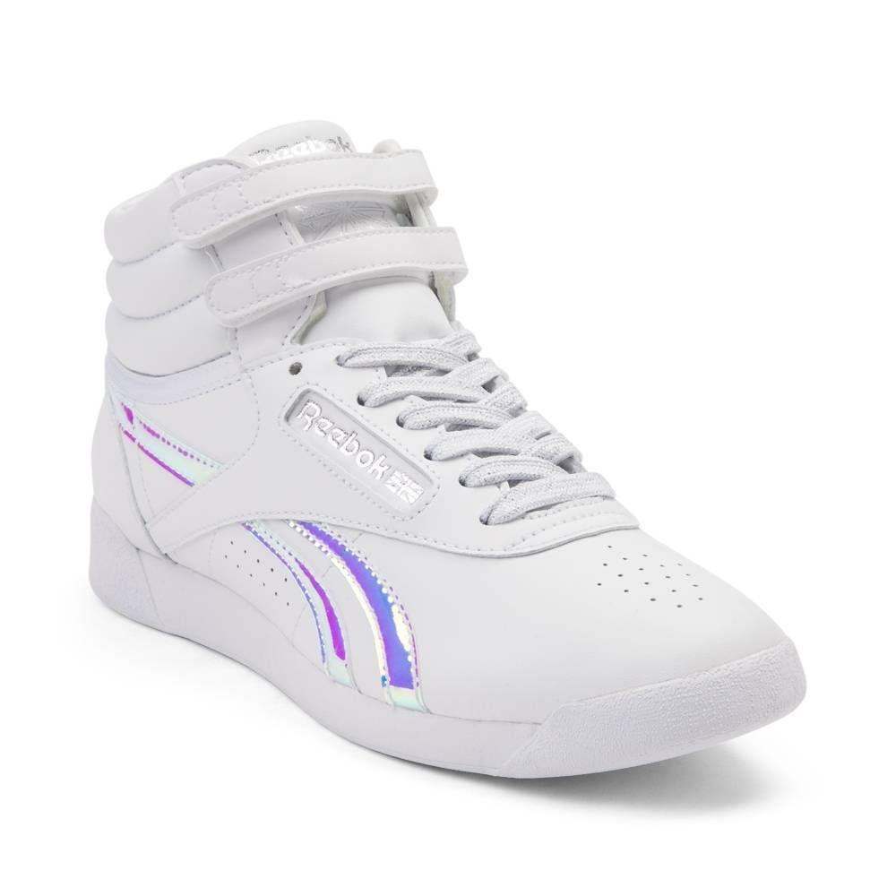 Womens Reebok Freestyle Athletic Shoe WhiteIridescent