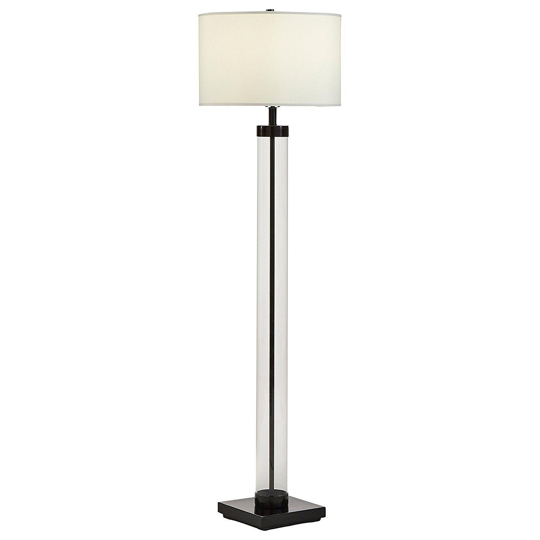 "Stone & Beam Glass Column Black Floor Lamp, 59""H, With Bulb, Linen Shade - - Amazon.com"