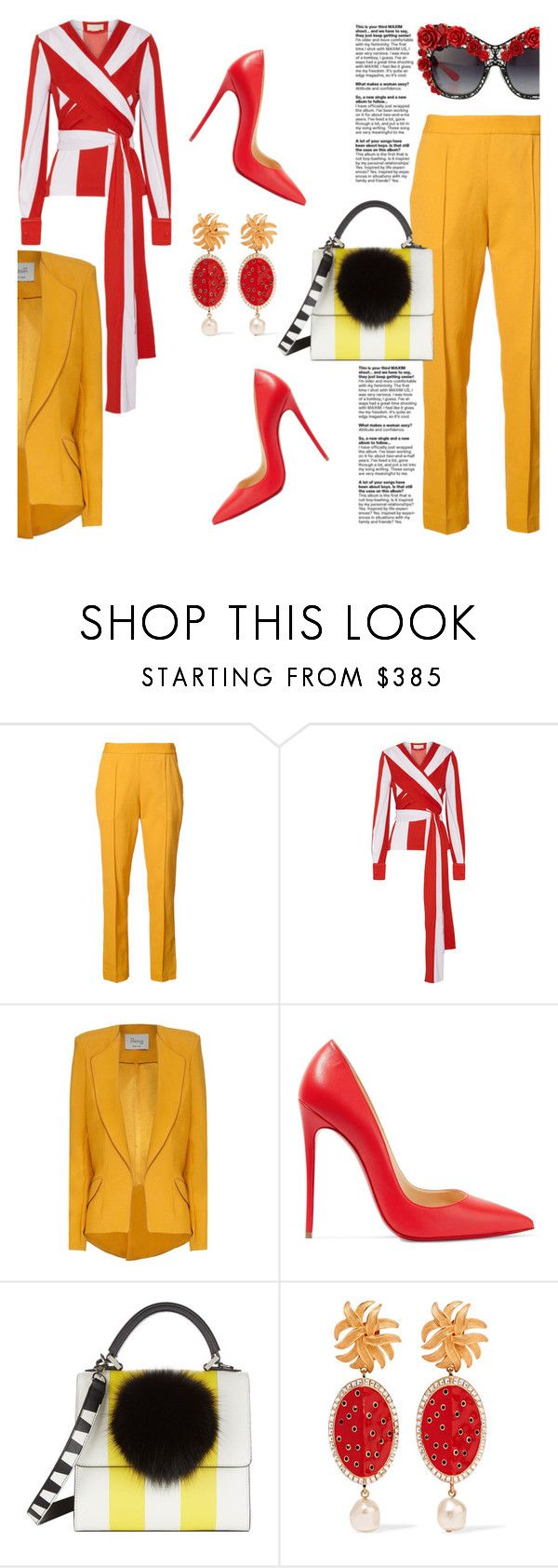 """""""RED AND YELLOW"""" by konstantinabday26oct72 ❤ liked on Polyvore featuring Rosie Assoulin, Monse, Hebe Studio, Christian Louboutin, Les Petits Joueurs and Dolce&Gabbana"""