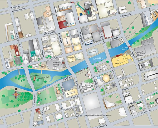 Diional, illustrated map of downtown Reno and the ... on reno nevada map, reno shopping map, reno riverwalk map, reno livestock events center map, west reno map, reno rodeo map, downtown reno hotels, downtown reno at night, downtown reno library, brookside golf course map, reno casino map, midtown reno map, downtown reno nv casinos, downtown reno restaurants, downtown reno timeline, reno city map, downtown reno home, las vegas hotel map, dowtown reno strip map, lake tahoe map,