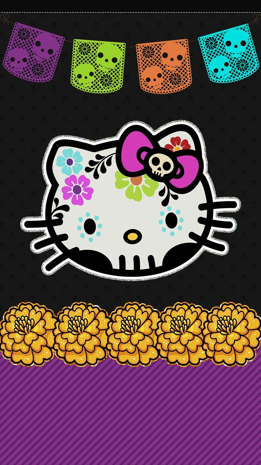 Hello Kitty Cell Phone Wallpaper Lock Screen Pic Dia De Los Muertos Day Of The D Hello Kitty Halloween Wallpaper Hello Kitty Halloween Hello Kitty Wallpaper