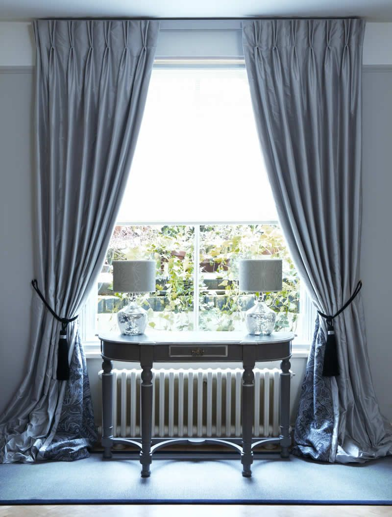 Interlined Twin Pinch Pleat Silk Curtains on Lath  for Pencil Pleat Curtains On Track  555kxo