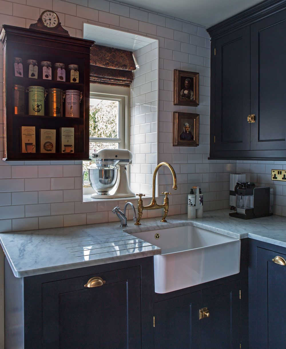 a beautiful farmhouse sink devol aged brass tap and hardware this dreamy classic english on kitchen interior classic id=69236