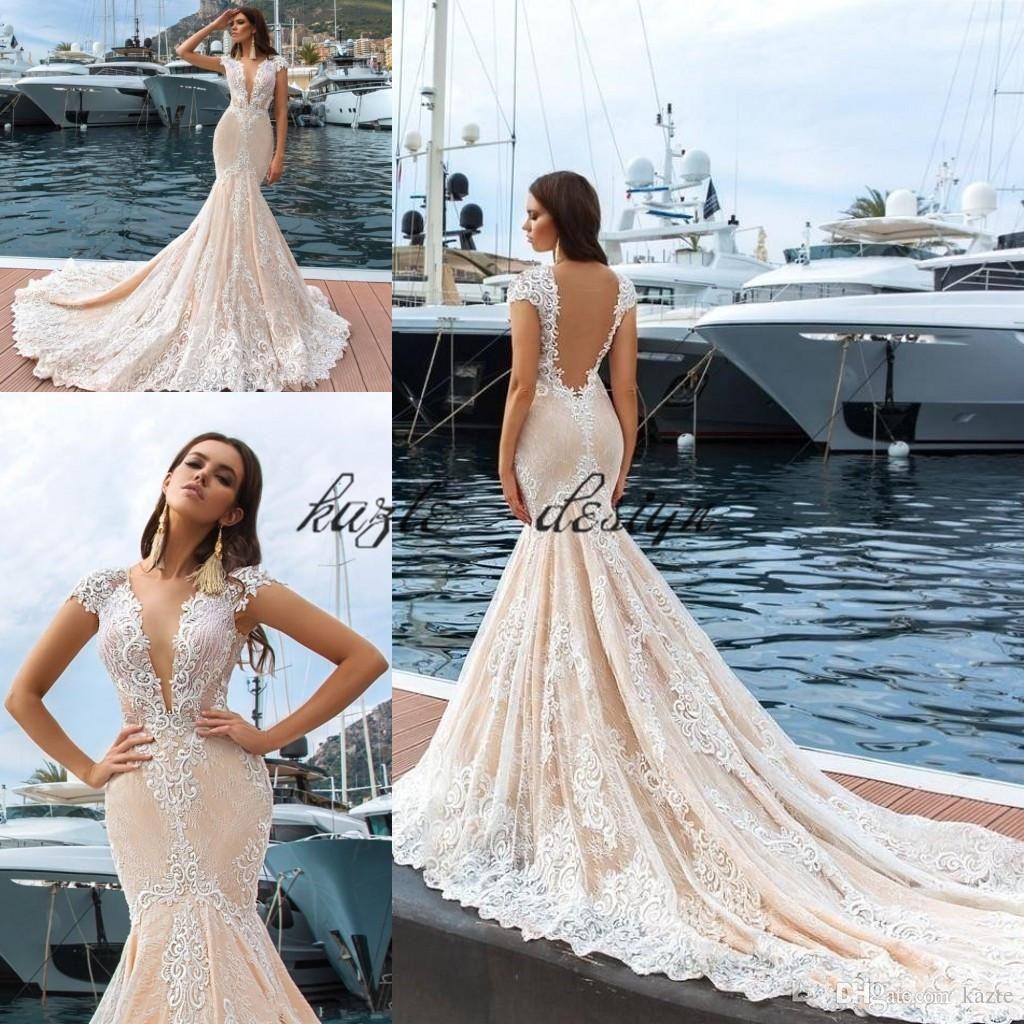 Backless Mermaid Wedding Dresses Champagne