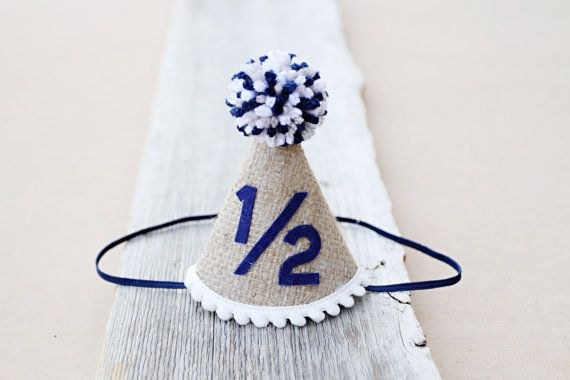 QUICK SHIP Boys 1 2 Birthday Burlap And Navy Party Hat