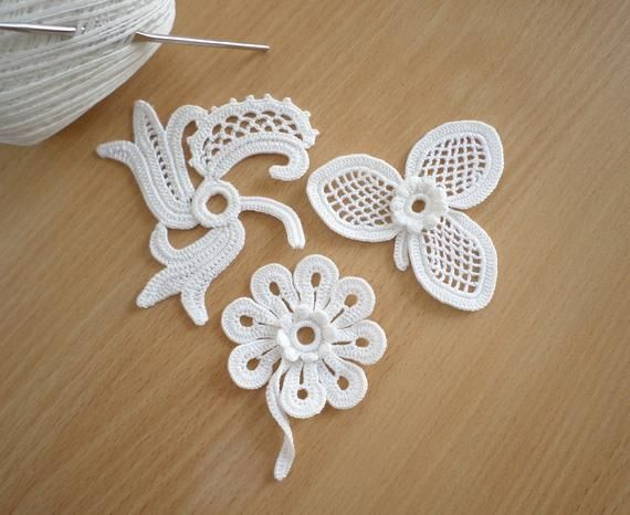 Irish lace Irish crochet flower motifs, off white flower applique, Irish crochet set of 3, crochet decor, wedding decor #irishcrochetflowers