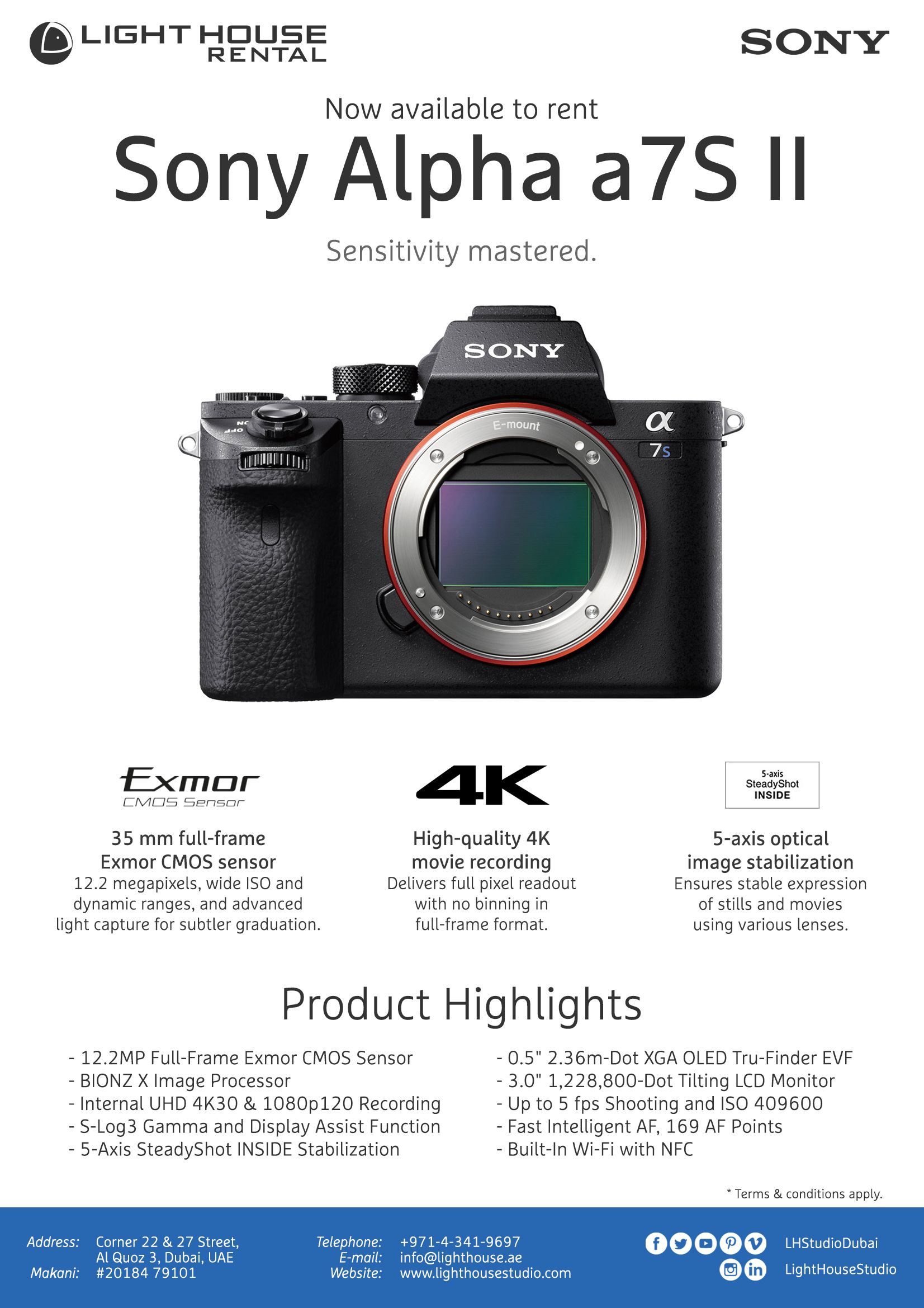AVAILABLE FOR RENTAL! Sony A7s Mark 2 Body PRODUCT HIGHLIGHTS 12.2MP ...