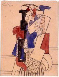 Pintura de la mujer de Picasso con sombrero, sentado en un sillón