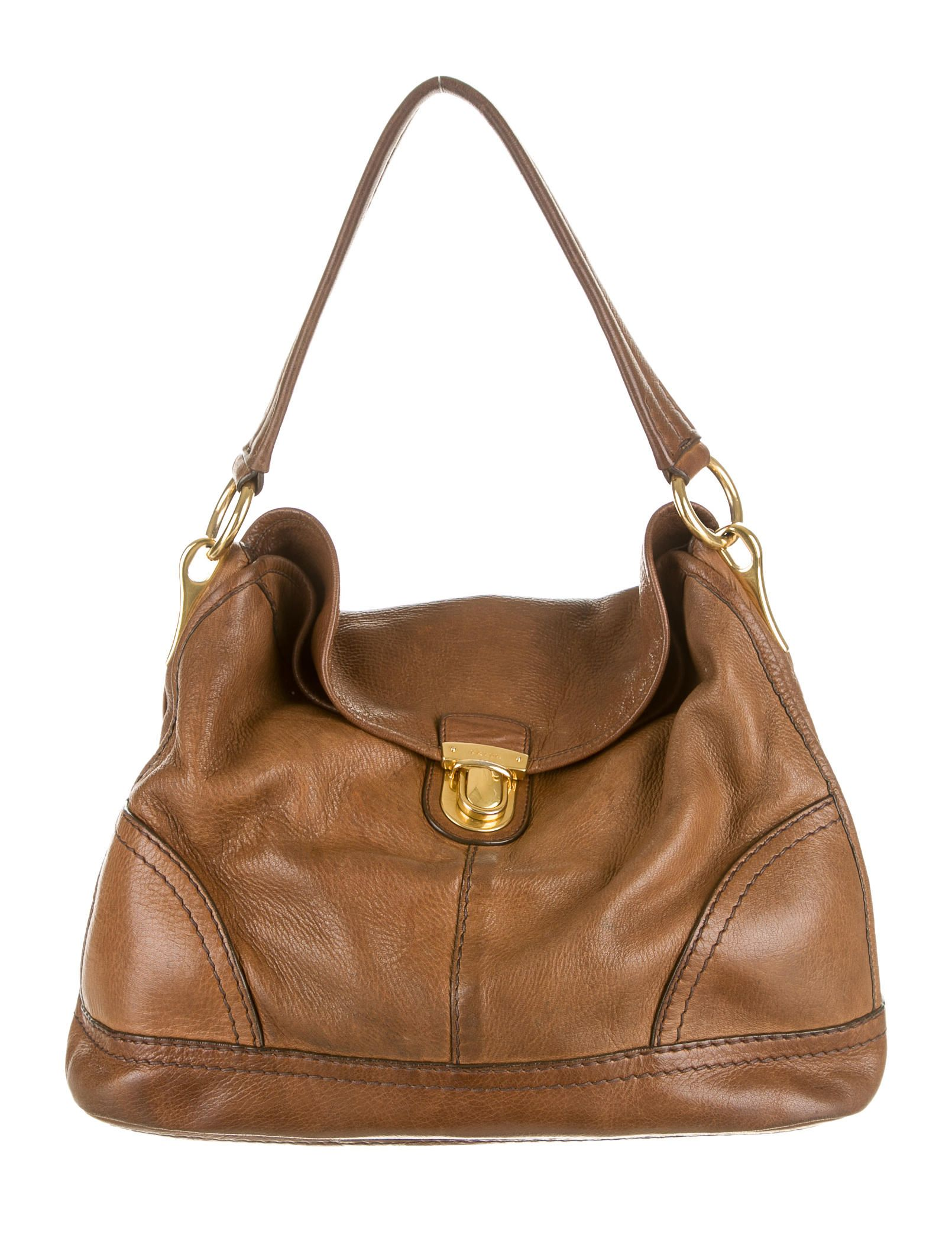 9800fa1998 Brown pebbled leather Prada Chevre Easy satchel with matte gold-tone  hardware