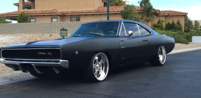 Stunning 1968 Dodge Charger R T 440 Restored Matte Black 20 Wheels