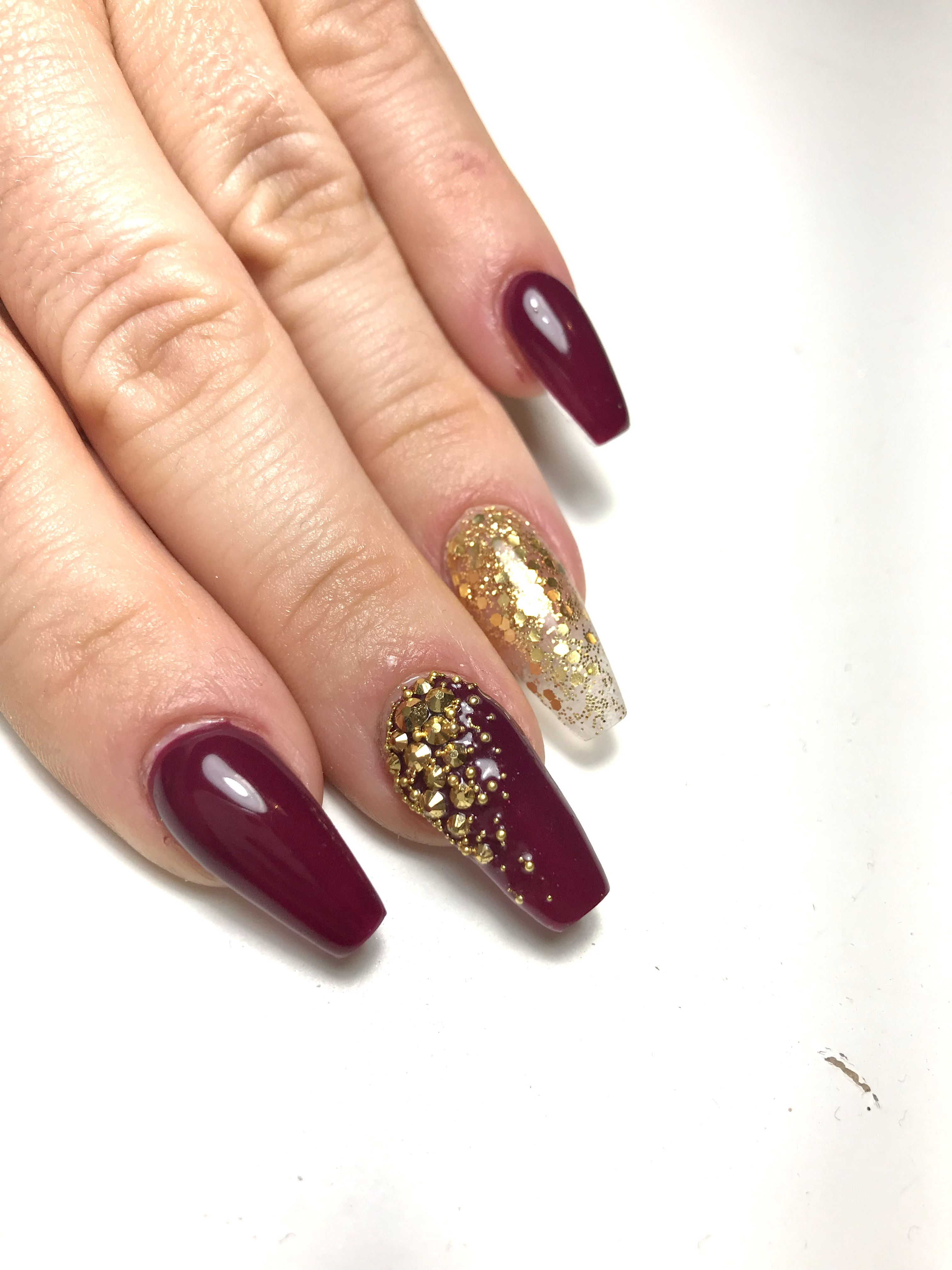 Red And Gold Nails With Swarovski Crystals Red And Gold Nails Maroon Nails Maroon Nails Burgundy