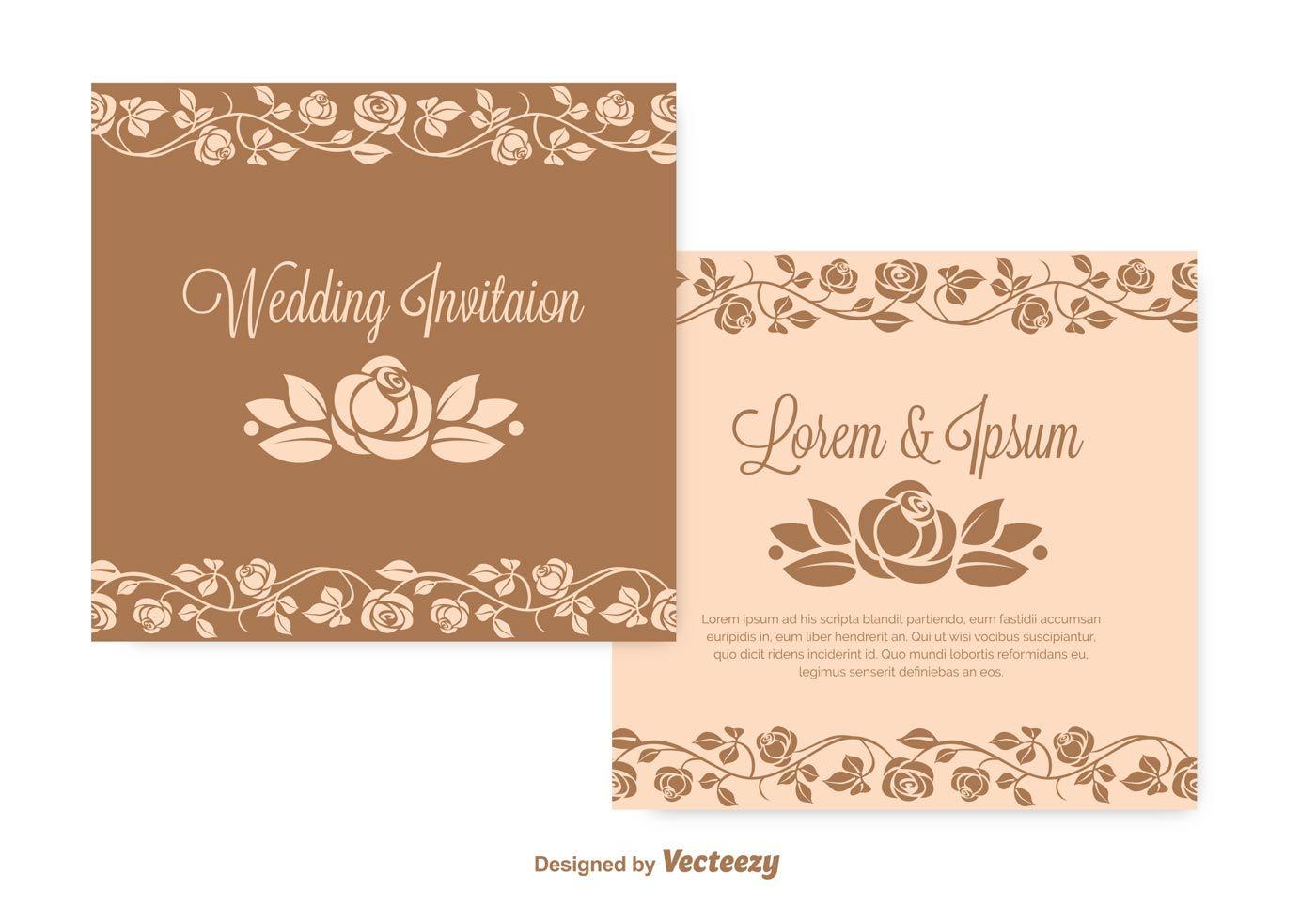 Wedding Invitation Vector Set Wedding Invitation Vector Vintage Wedding Invitations Templates Wedding Invitation Templates