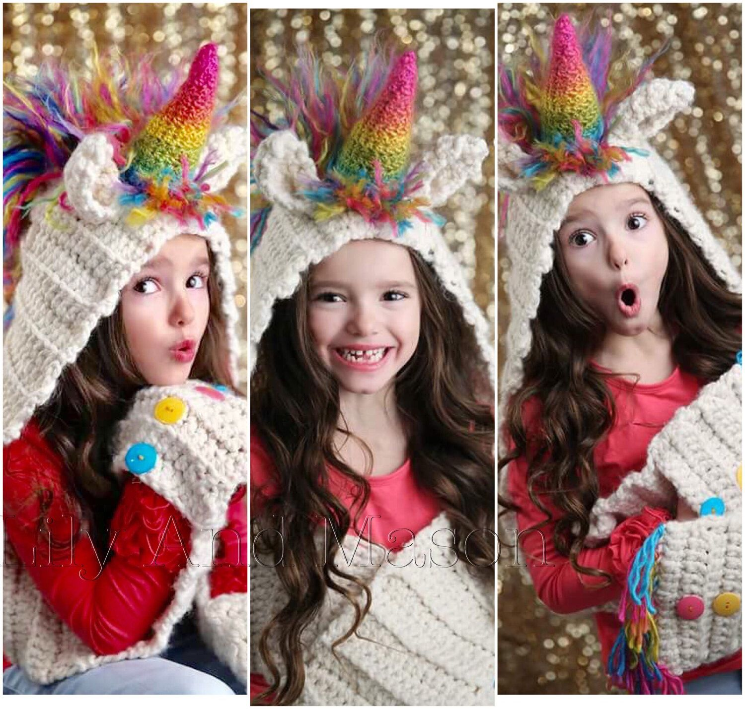 Rainbow unicorn hooded scarf, scarf with pockets, toddler, child ...
