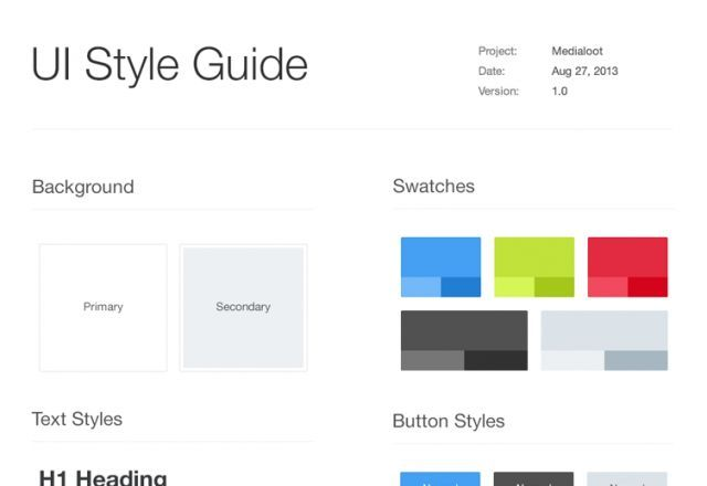 Medialoot freebie UI Style Guide Template psd per our blog post ...
