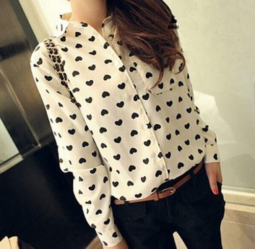 Fashion Sexy Women's Loose Chiffon Heart Tops Long Sleeve Shirt Casual Blouse #Generic #Blouse #Casual