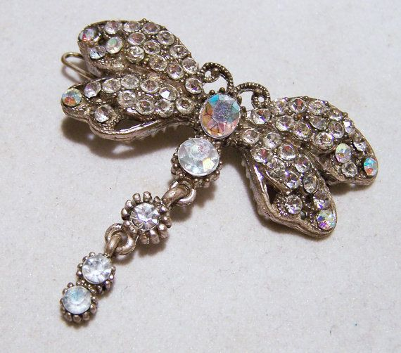 Crystal Rhinestone Butterfly Barrette Antiqued Silver Tone Bug Vintage Hair Jewelry 816DG