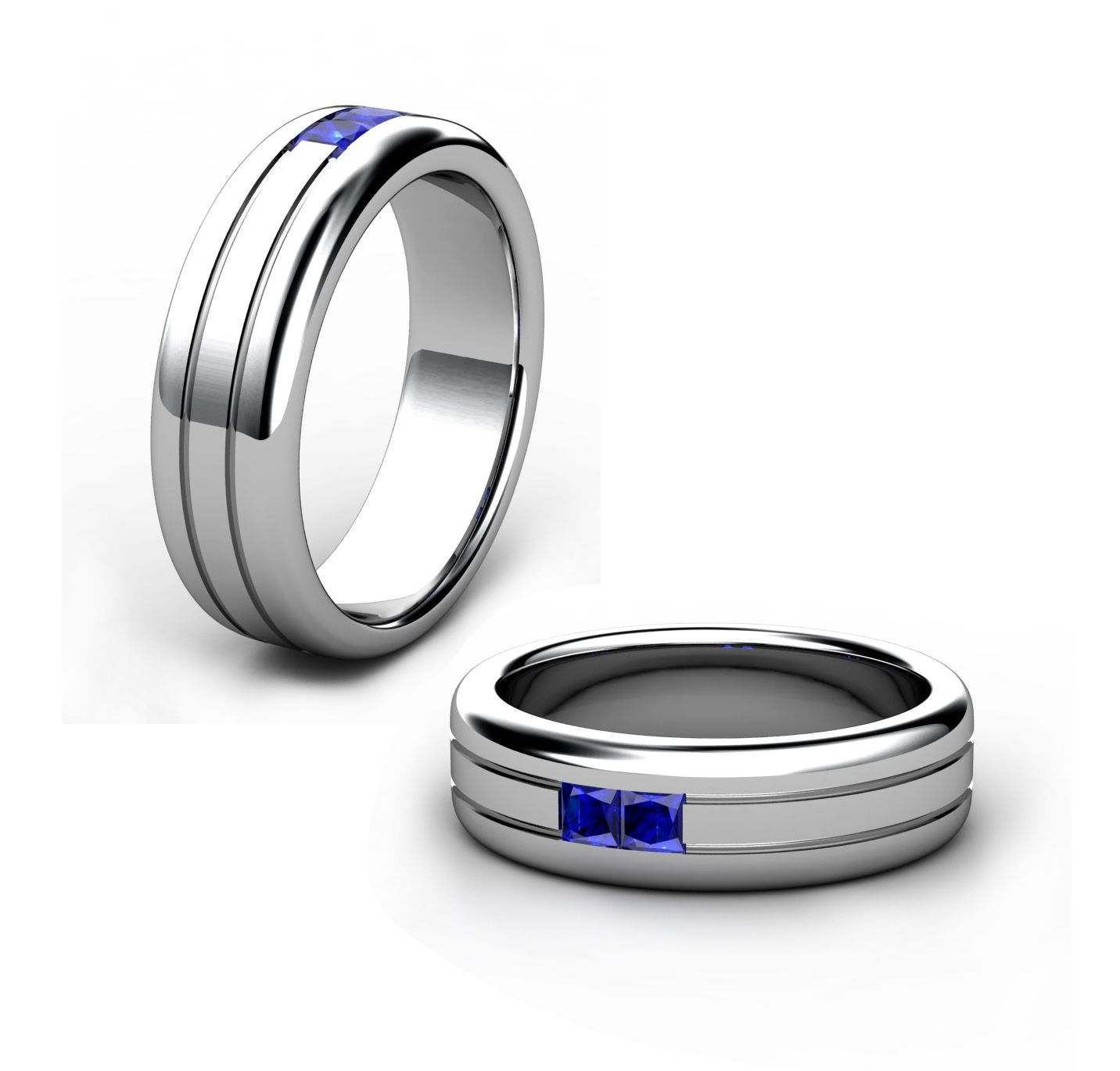 18 Ct white gold gents wedding ring with 2 x princess cut royal blue