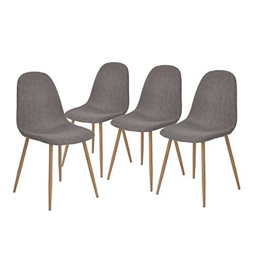 Greenforest Dining Chairs Set Of 4 Metal Legs Fabric Cushion Seat