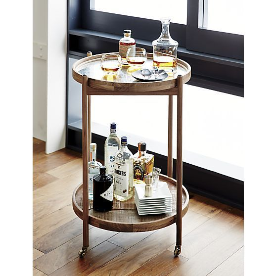 Small Round Bar Cart On Wheels Vintage Design