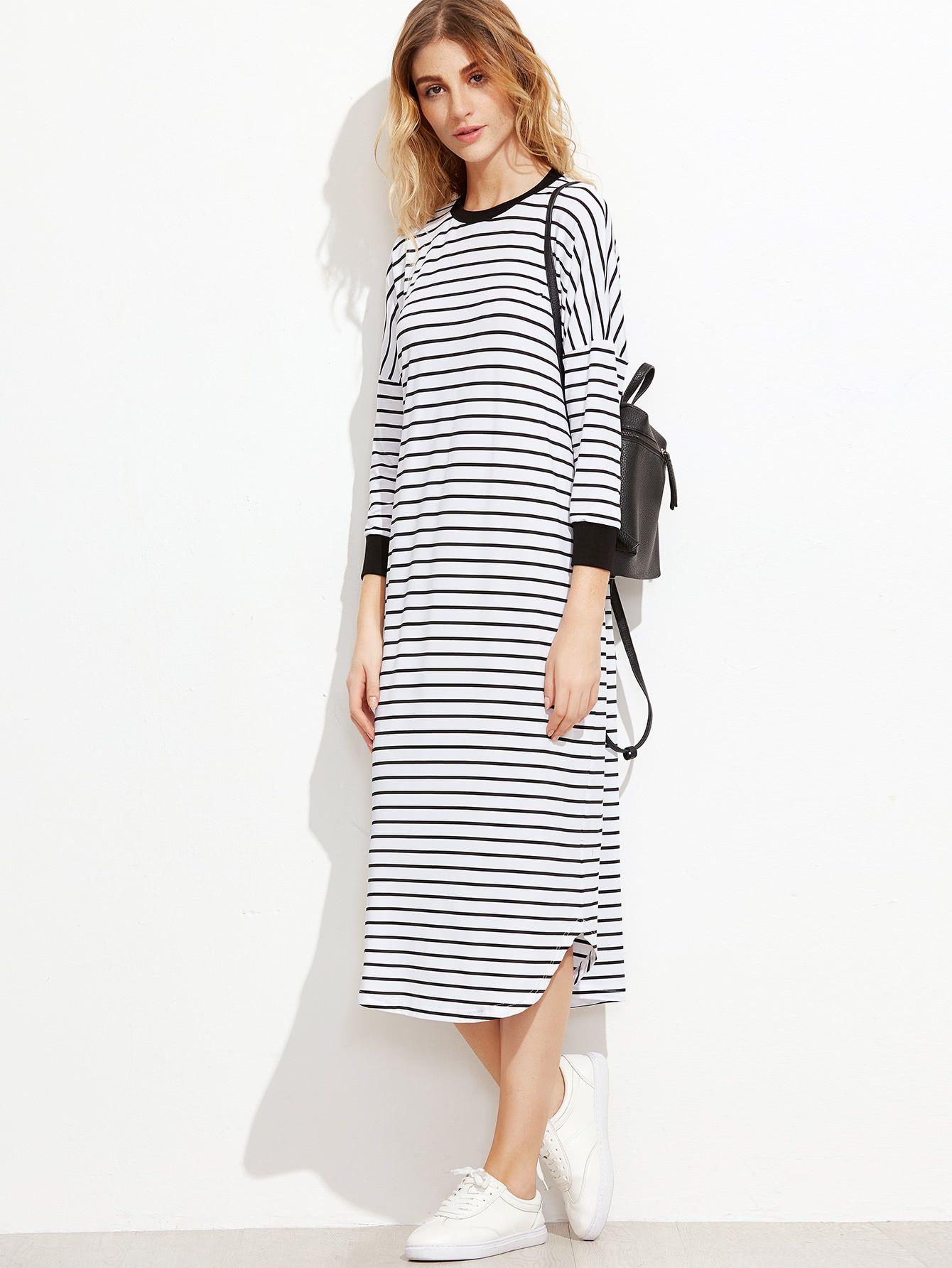 b627e8b35b7f Shop Striped Contrast Trim Drop Shoulder Tee Dress online. SheIn offers  Striped Contrast Trim Drop Shoulder Tee Dress   more to fit your  fashionable needs.