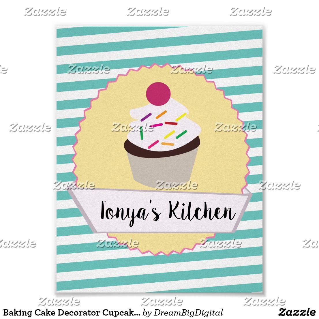 Cute Cupcake Banner Logo Bakery Poster Zazzle Com Bakery Logo
