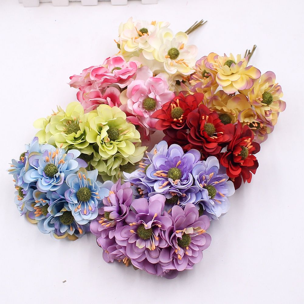 6pcs Artificial Cherry Blossom Silk Poppy Bouquet Wedding Home