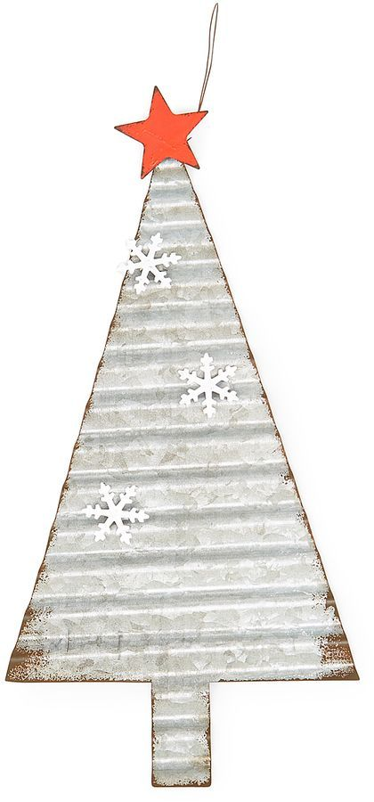Corrugated Metal Christmas Tree Wall Art #afflink #metaltreeartwork